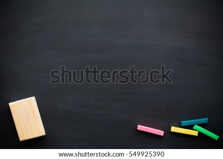 Abstract Chalk rubbed out on blackboard for background. texture for add text or graphic design. Education concepts school. #549925390