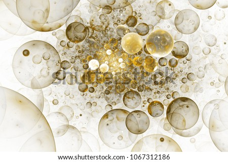Abstract chaotic glittering gold and grey bubbles. Fantasy fractal design. Digital art. 3D rendering.