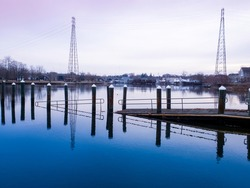 Abstract Chaotic Shapes of Pilings and Sunken Boat Ramp in the River