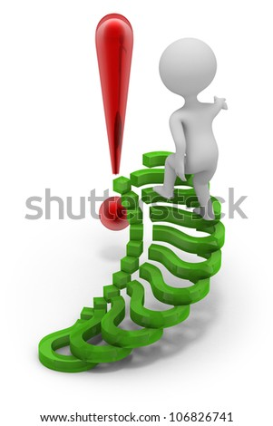 Abstract character climbing upstairs with  ladder made of question marks. His goal is to answer questions and make successful decision ( symbolized with exclamation mark). Render on white background. - stock photo