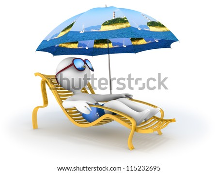 Abstract character lies in chaise longue under umbrella which depicts seascape with lighthouse  and dreams of seaside vacation with sun glasses over his eyes.