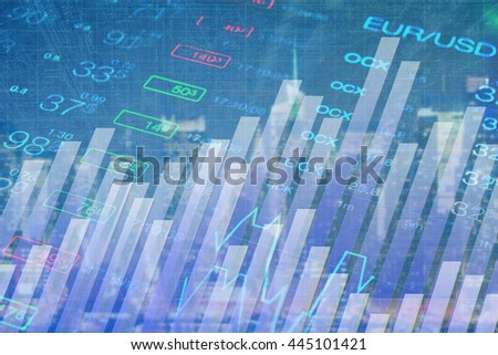 Abstract chart and numbers at blue background. Wallpaper for finance, business, investment, trading, forex themes.