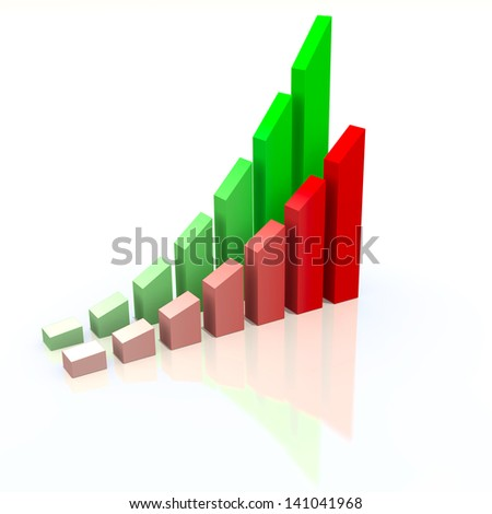 Abstract chart with increasing measures of success, business concept