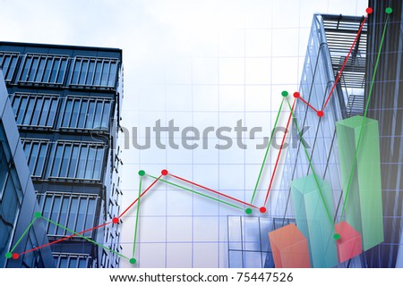abstract chart with skyscraper background