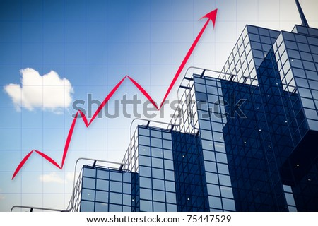 abstract chart with skyscraper background and blue sky