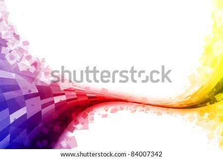 abstract checked tube and rectangles over the white. - stock photo