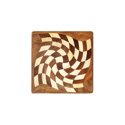 Abstract chess board isolated on white background, top view. Handmade spiral chessboard assembled from pieces of different wood