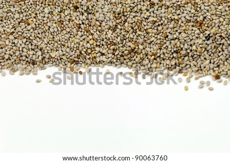 Abstract Chia Seeds on white background