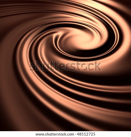 Abstract chocolate swirl background. Choco liquid melt mass. (3d remarkable abstract backgrounds and objects series)