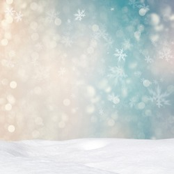 Abstract Christmas background with various snowflakes and snowdrift