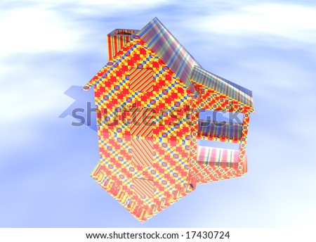 Abstract Christmas Gift Wrapped House Model on Blue-Sky Background with Reflection