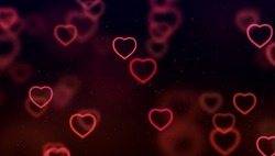 abstract christmas gradient red and purple gradient on black background with bokeh glitter and red hearts shape flowing, valentine day love relationship holiday event festive concept