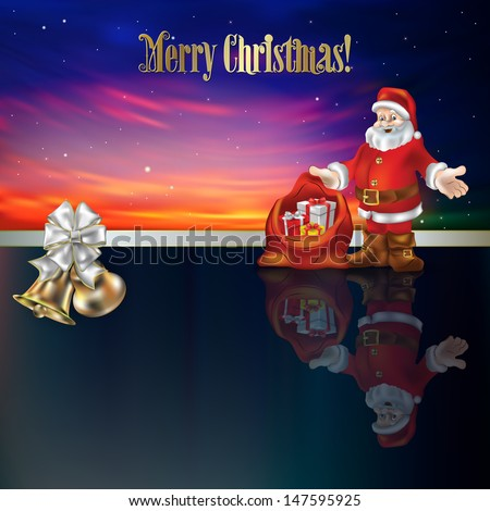 Abstract Christmas greeting with bells white ribbon and Santa Claus
