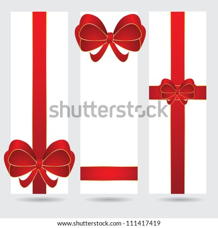 Abstract christmas holiday banner set with red ribbon