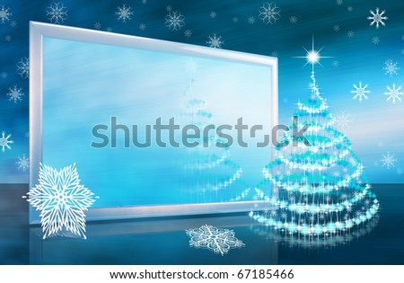 Abstract christmas or new year card with tv screen and stars christmas-tree