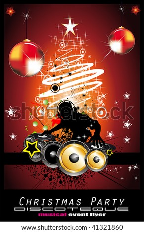Abstract Christmas Party Disco Music Background for Event Flyers