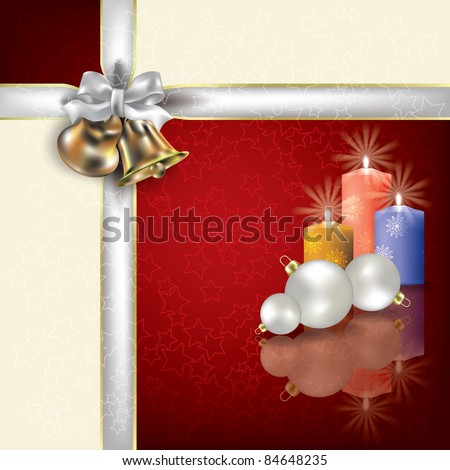 Abstract Christmas red white greeting with white gift ribbons