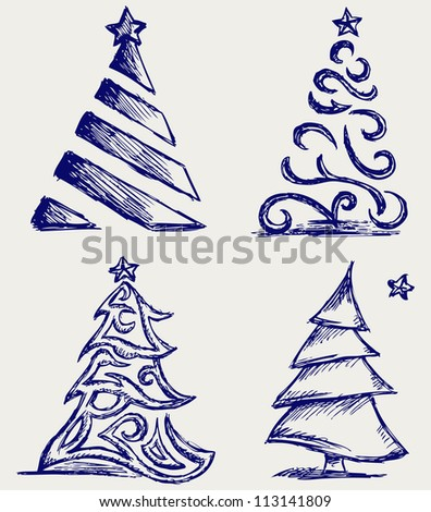 Abstract Christmas tree and star. Raster version - stock photo