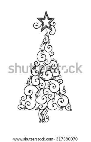 Abstract Christmas tree clipart with pretty swirls and star design on top in black ink on white background.
