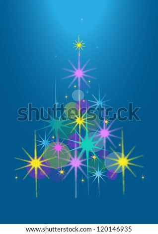 Abstract Christmas tree of stars on a blue background