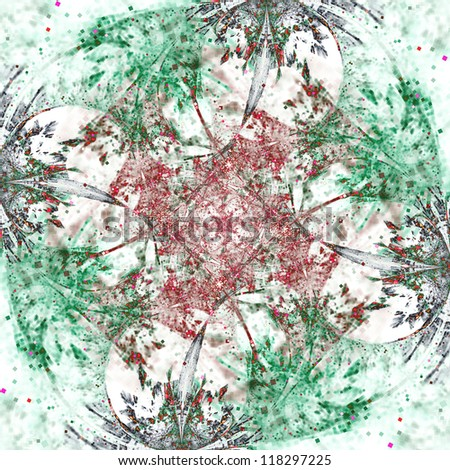 Abstract christmas tree, ornament or snowflake, digital fractal artwork
