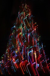 Abstract Christmas tree : Painting using the multicolored optical fiber -  long exposure time laps technique in black room
