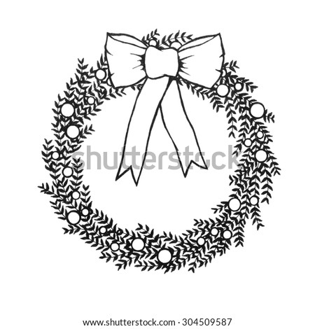 Abstract Christmas Wreath Decoration With Branches And Berries And A