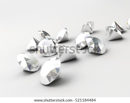 Abstract Chrome Diamonds isolated on white background, 3d #521184484