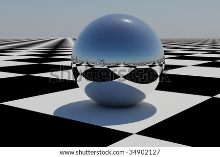 Abstract Chrome Sphere On A Chess Board Abstract