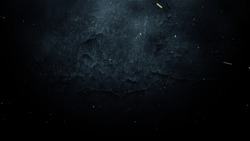 Abstract Cinematic Dust Particles and Light Flare Dark Wall Stone   Background.