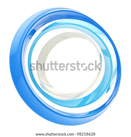 Abstract circle frame made of colorful glossy rings isolated on white