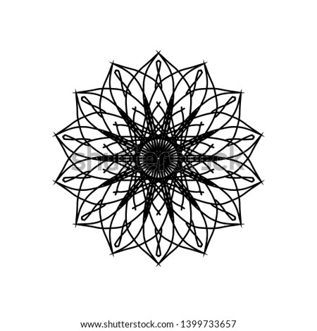 Abstract circle pattern mandala flower floral. spirograph starbust vintage monochrome modern circular pattern geometric motif black white. for design elemental, unique coloring book for child adult