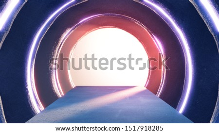 Abstract circle space interior of showroom with empty floor. Dark background ring 3d rendering.