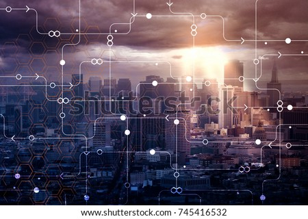 Abstract circuit city background with sunlight. Technology and inovation concept. Double exposure
