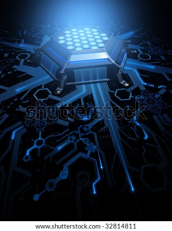 Abstract Circuit. Concept of technology and future. CPU (Central Processing Unit) in the center of the hexagonal circuit.