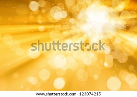 abstract circular bokeh on yellow background stock photo