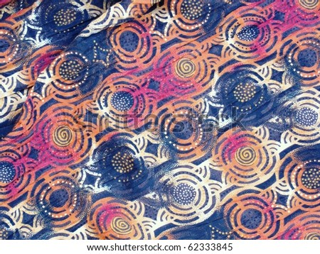 Abstract circular print background on cotton fabric