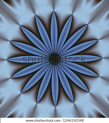 Abstract circular volume ornament in gray, light gray-blue, gray-blue and other shades.