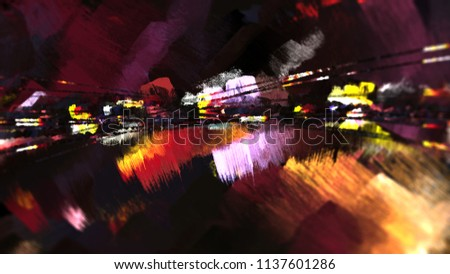 Abstract city digital geometric technology dark light mood space scenic atmosphere illustration background
