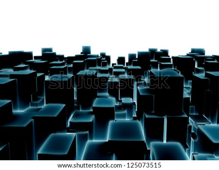 Abstract city made of glowing cubes