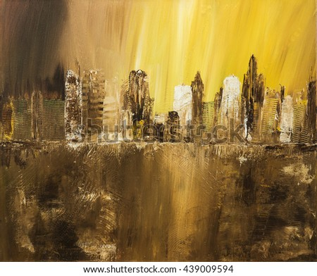 Abstract city of acrylic painting on canvas. Creative abstract hand painted background, texture, wallpaper. Modern art. Contemporary art.