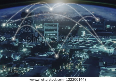 Abstract city scape and network connection concept  #1222001449
