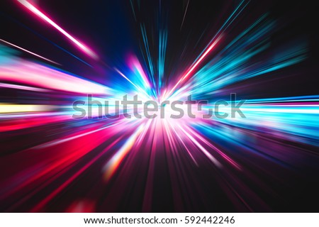 Stock Photo Abstract city street light explosion effect