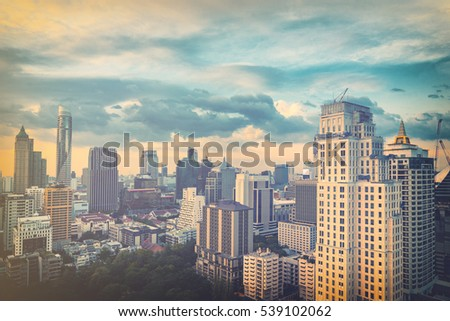 abstract cityscape on pastel retro filter - can use to display or montage on product #539102062