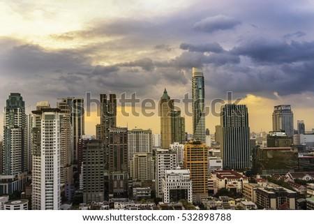 abstract cityscape on sunset...