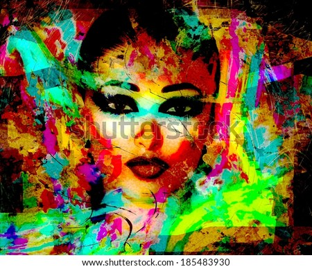 Abstract Close Up Face of A  Woman.  Artistic render of an woman\'s face in a modern pop art style image.
