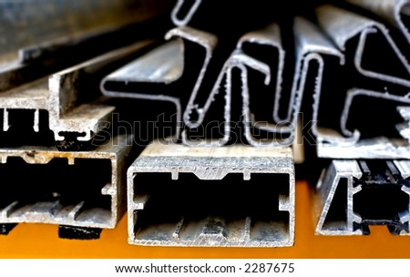 abstract close-up of the cut surface of aluminum bars