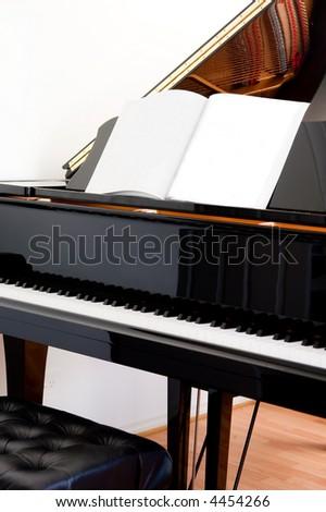 Abstract closeup of a grand piano