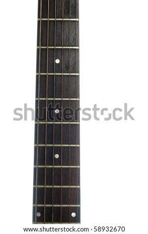 Abstract closeup of a guitar neck isolated on a pure white background