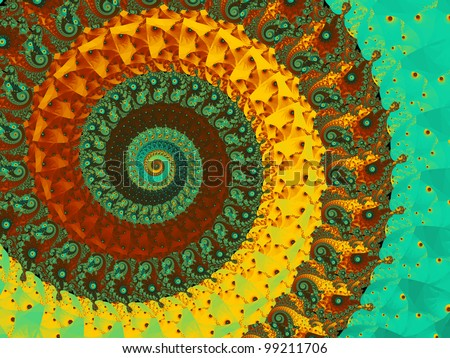Abstract coil background in brown, yellow and turquoise